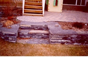 Rundle Stone Steps & Rundle Stone Flower Bed Retaining Walls