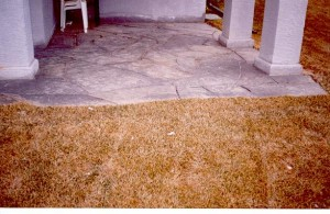 Corner Rundle Stone Slab Patio with old country feel