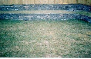 Multi-Tier Short Rundle Stone Retaining Walls